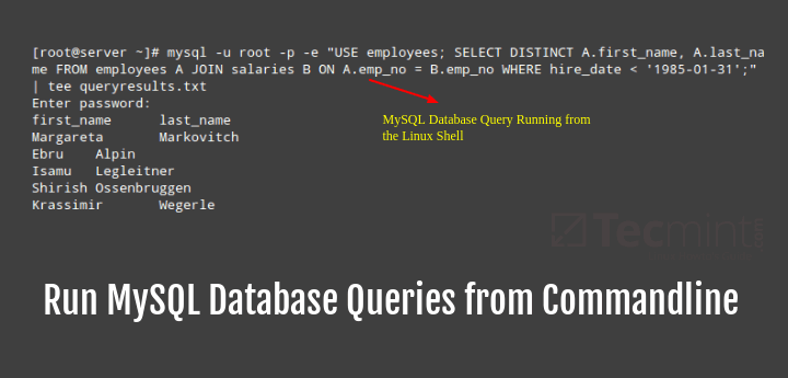 Run MySQL Database Queries from Linux Commandline