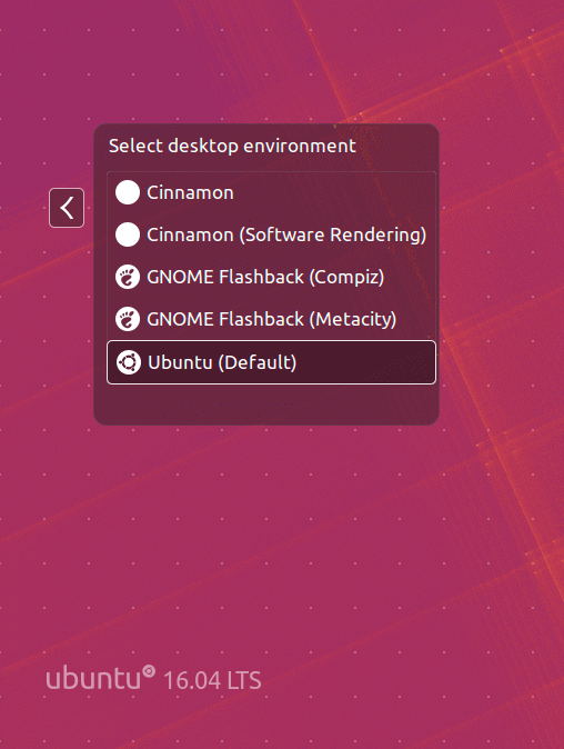 Select Cinnamon Desktop at Login
