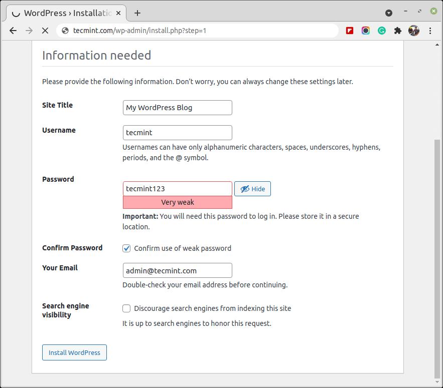 Set WordPress Details