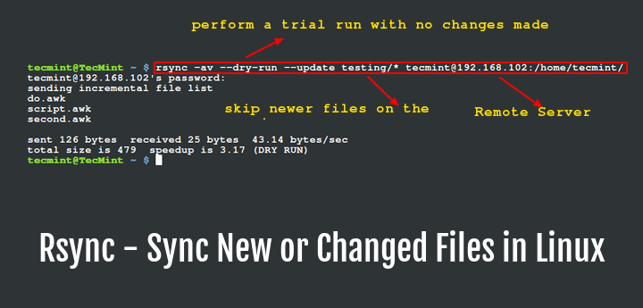Sync New or Modified Files Over Rsync in Linux