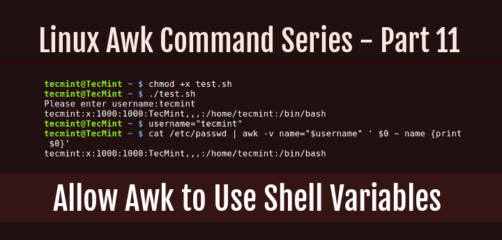 Use Shell Variables in Awk