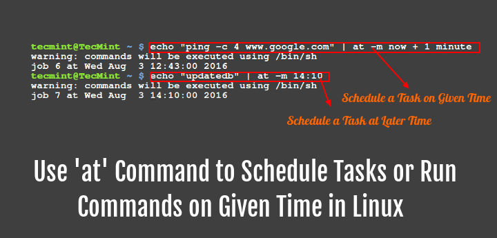 How to Use 'at' Command to Schedule a Task on Given or Later