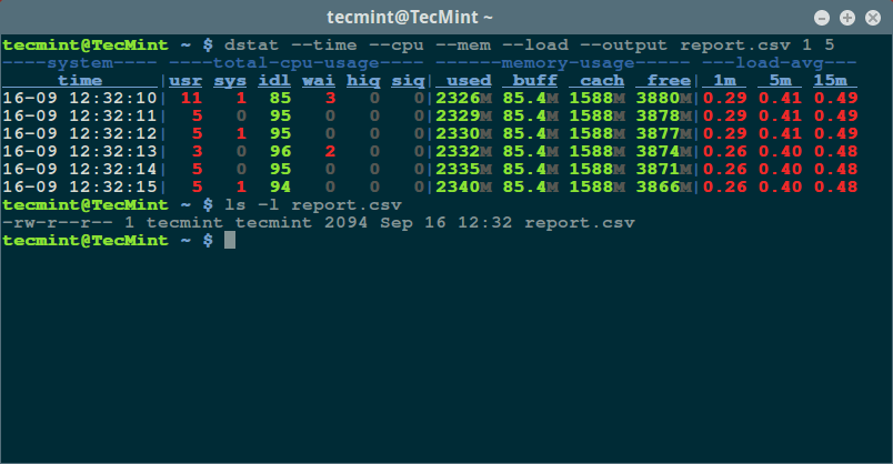 Dstat - Monitor Linux CPU Memory and Load