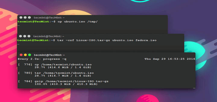 Show Progress of Linux Commands