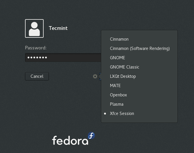 Select LXQt at Fedora Login