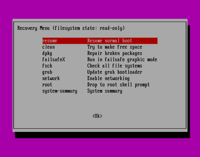Ubuntu Recovery Menu - Resume Normal Boot