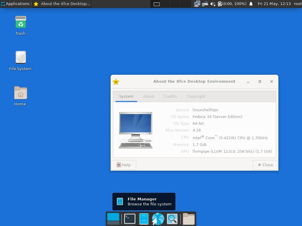 XFCE run in Fedora