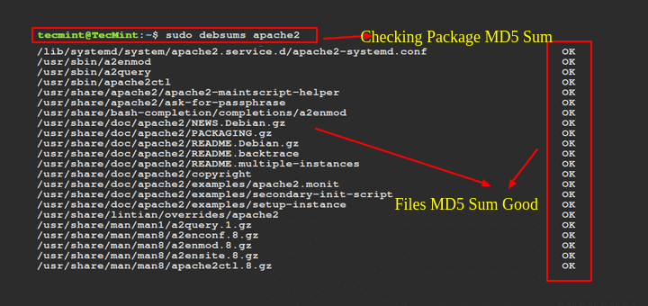 Check Package MD5sum in Debian