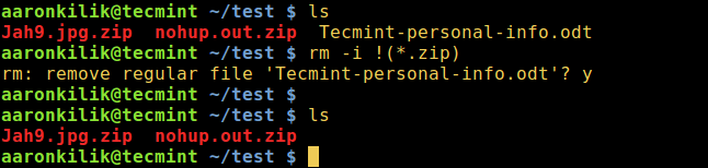Delete All Files Except Zip Files in Linux