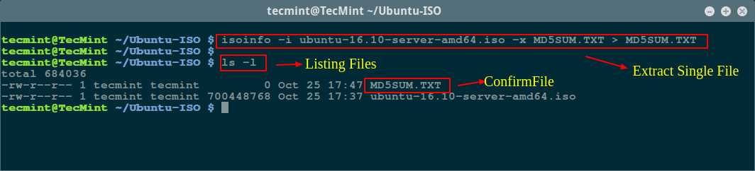 Extract Single File from ISO in Linux