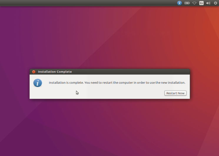 Ubuntu 16.10 Installation Completed