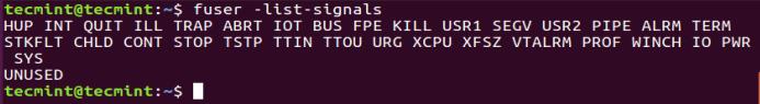 List All Kill Process Signals