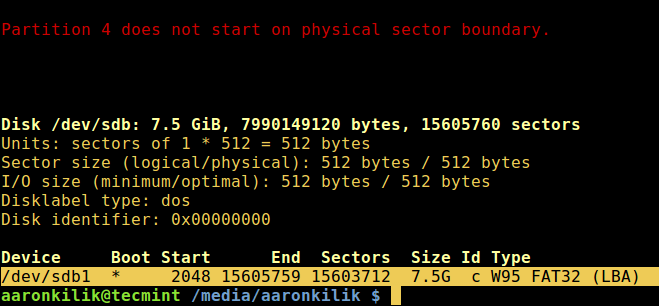 List Partition Table of Block Devices