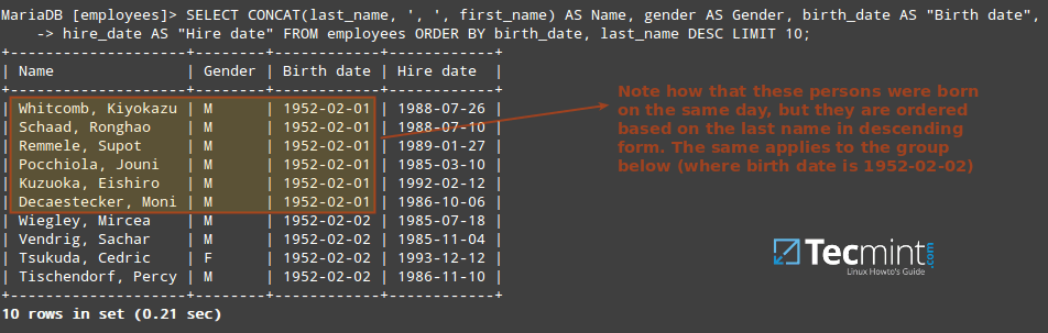 Query MySQL Table by Birth Date