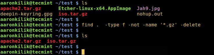 Command find - Remove All Files Except .gz Files