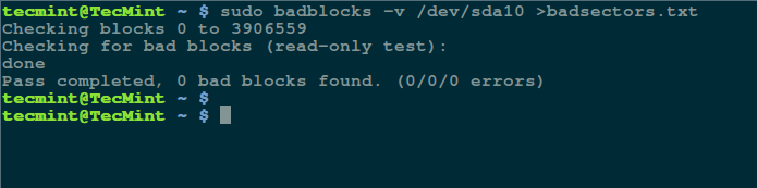 How to Check Bad Sectors or Bad Blocks on Hard Disk in Linux