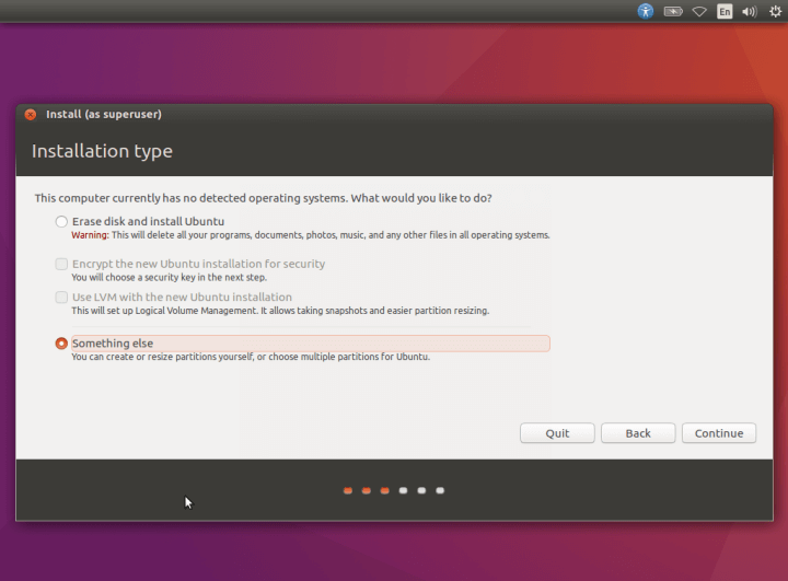 Select Ubuntu 16.10 Installation Type