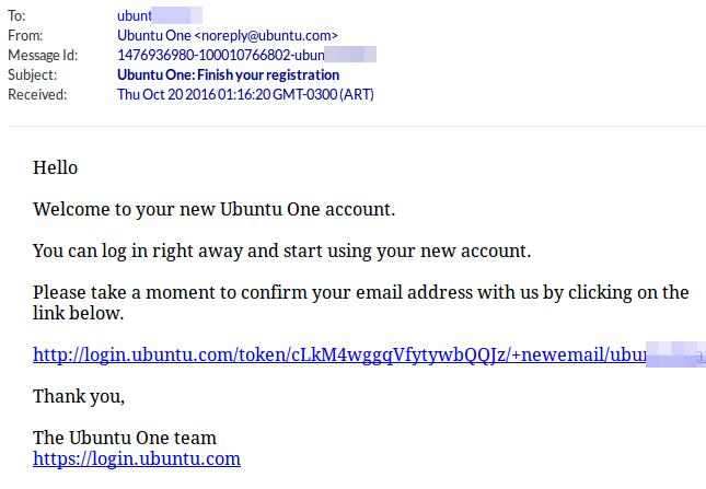 Ubuntu One Confirmation Mail