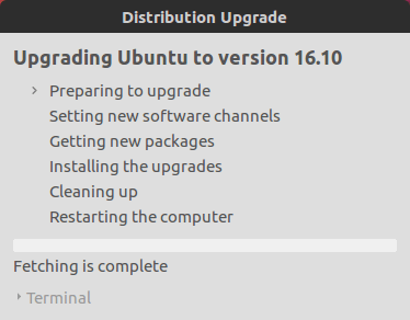 Upgrading Ubuntu to Version Ubuntu 16.10