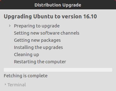 Upgrading Ubuntu to Version Ubuntu 16.10