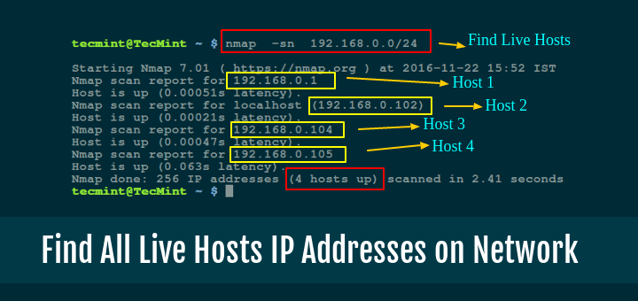 Find Out All Live Hosts IP Addresses Connected on Network in