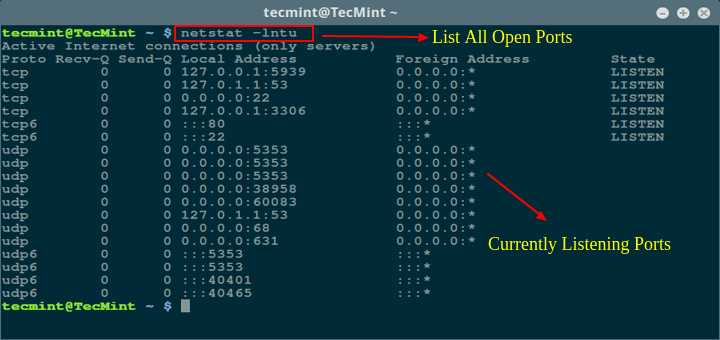 Find Open Ports in Linux