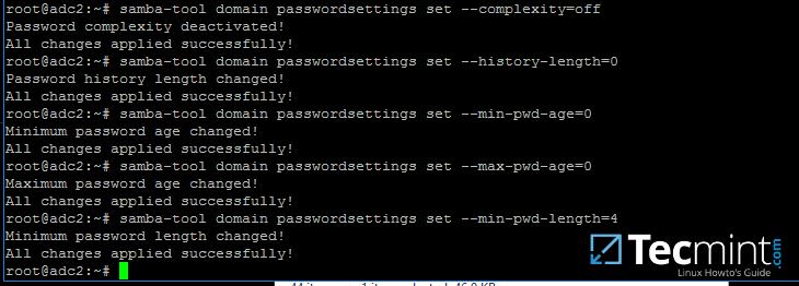 Manage Samba Domain Password Settings
