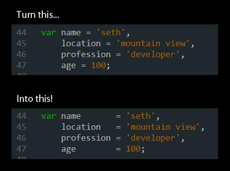 Tabularize Align Code in Vim