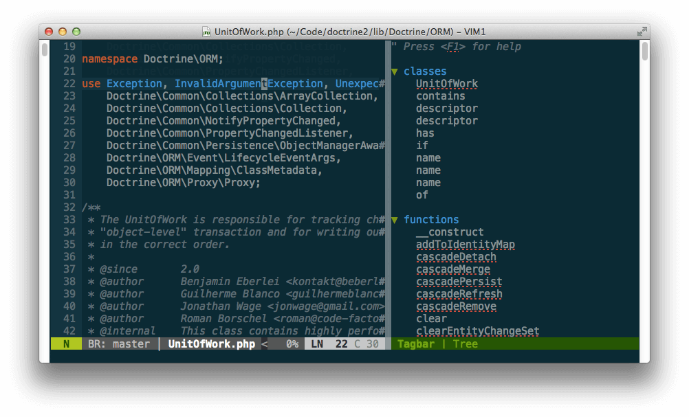 Tagbar Adds Tag Generation and Navigation in Vim