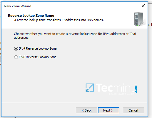 Add Reverse Lookup Zone Name