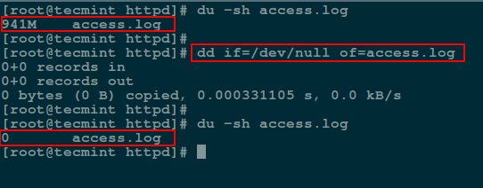 Empty File Content Using dd Command