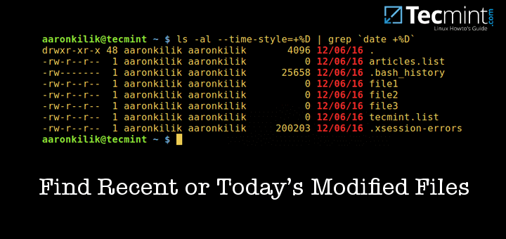 Find Recent or Today's Modified Files in Linux
