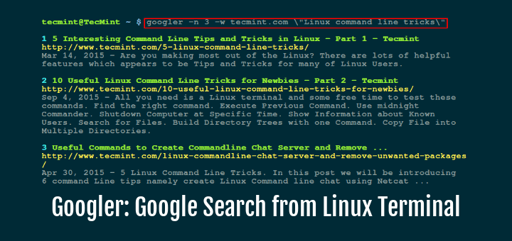 googler a command line tool to do google search from