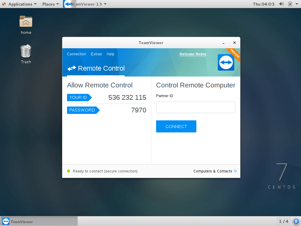 TeamViewer 13 Running on CentOS 7