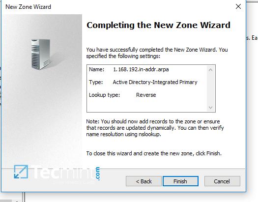 New DNS Zone Summary