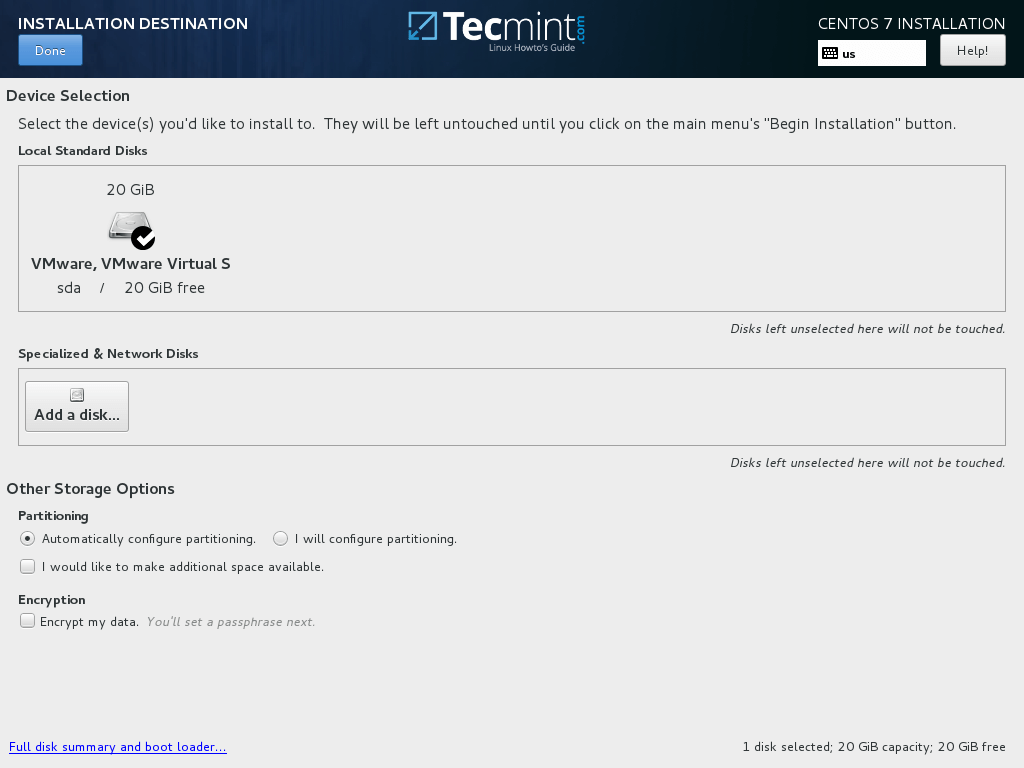 Select CentOS 7.5 Installation Destination
