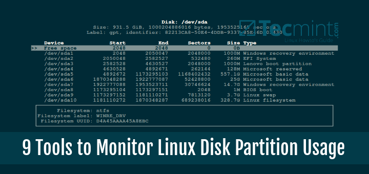 Tools to Monitor Linux Disk Partition Usage