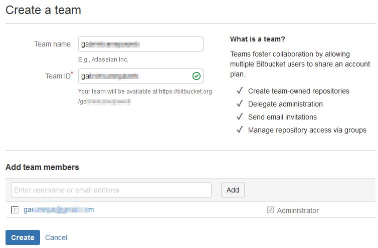Bitbucket - Create a Team