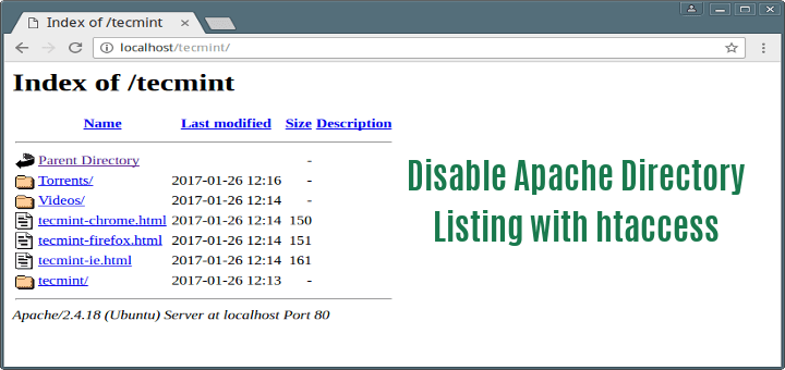 Disable Apache Web Directory Listing Using  htaccess File