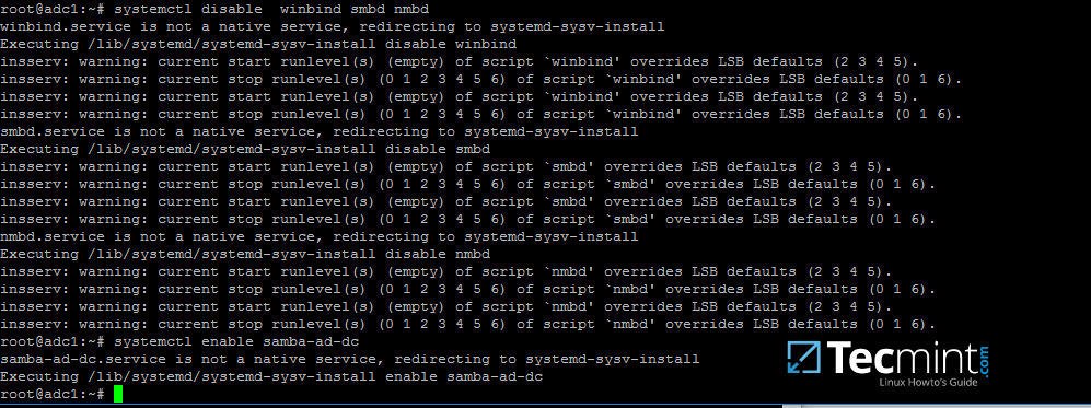 Enable Samba4 AD DC Services