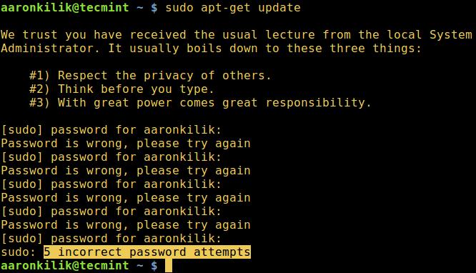 Increase Sudo Password Attempts
