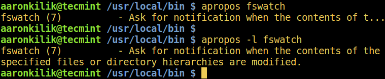 Linux apropos Command Example