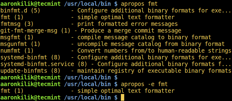 Linux apropos Command Show by Keyword