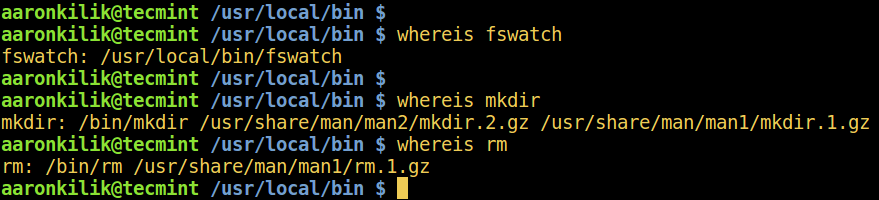 Linux whereis Command Example