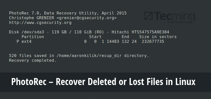 PhotoRec - Recover Deleted Lost Files in Linux