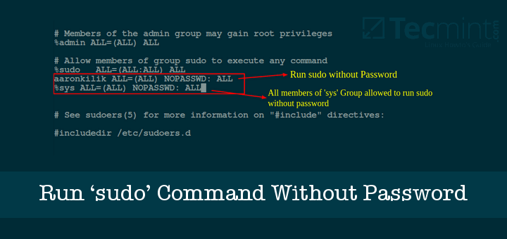 Run Sudo Command Without Password