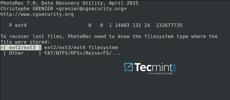 Select Filesystem to Recover Deleted Files
