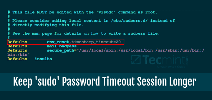 Set Sudo Password Timeout Linux