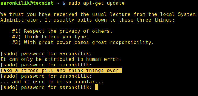 Let's Sudo Insult You When Enter Wrong Password