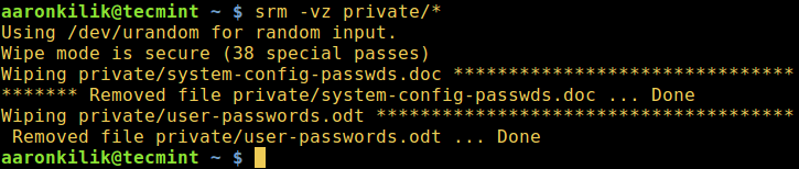 srm - Securely Delete Files in Linux